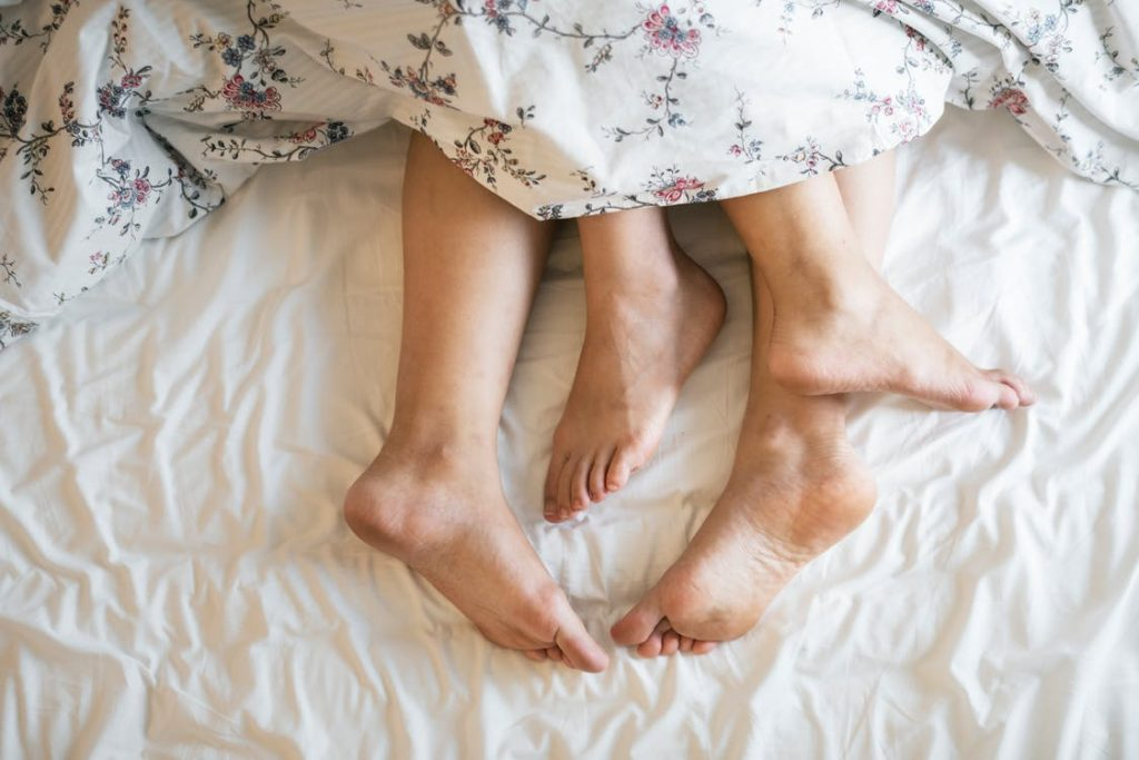 Legs tied together in the bed