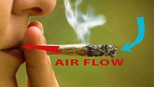 smoking a marijuana cigarette