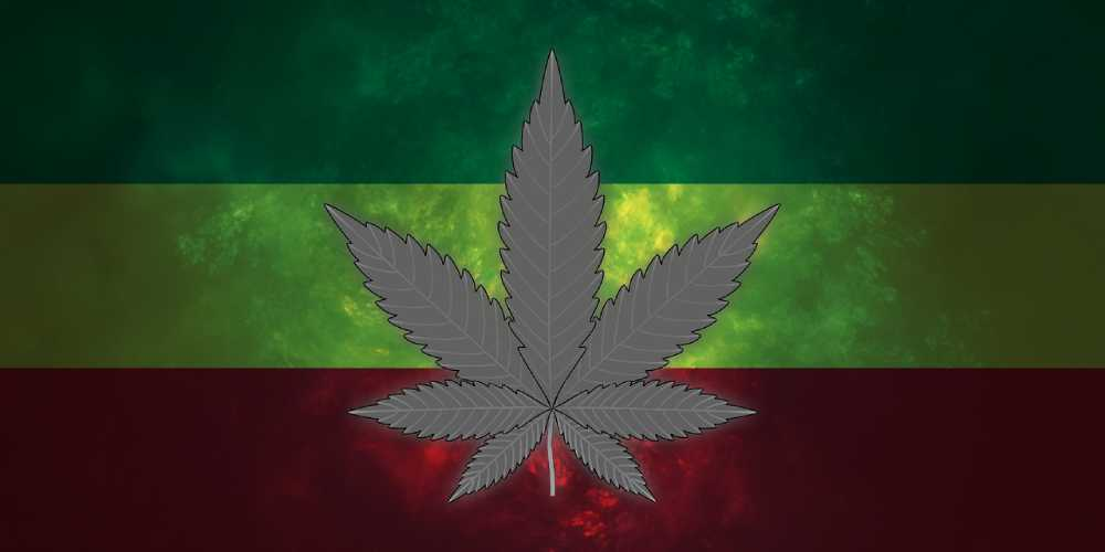 Marijuana leaf on Rasta flag